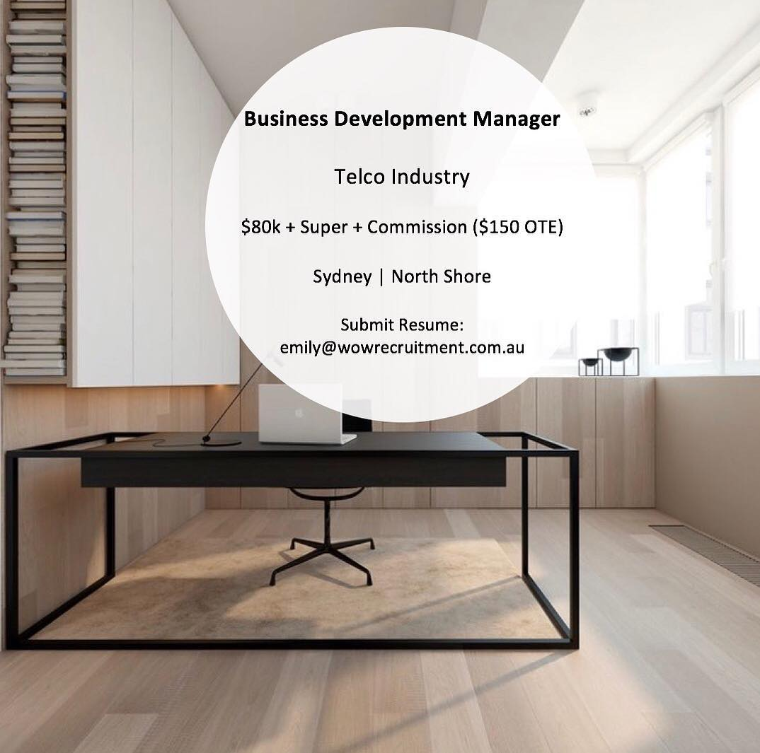 ** $150k OTE Currently looking for experienced BDM's to join our clients growing sales team. Our client is a reputable Telco company who provide their customers with industry-leading solutions and technologies. For more information, please get in contact with one of our consultants by contacting us on 02 8320 0684 or sending us a DM.
