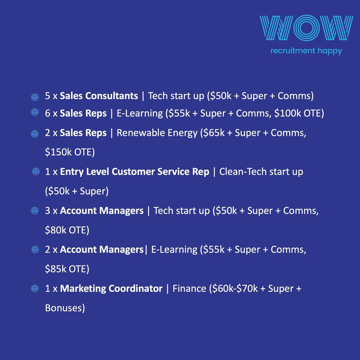 HOT JOBS FOR THE NEW YEAR! . Here are just a few of the Junior Sales, Customer Centric and Marketing roles WOW Recruitment are currently working on in Sydney. . . Please reach out to us if you're open to hearing about new opportunities in the sales, customer service or marketing space or know someone who may be - 02 8320 0683  . . #marketing #customerservice #sales #jobad #dowhatyoulove #career #workhappy #recruitmenthappy #hiring
