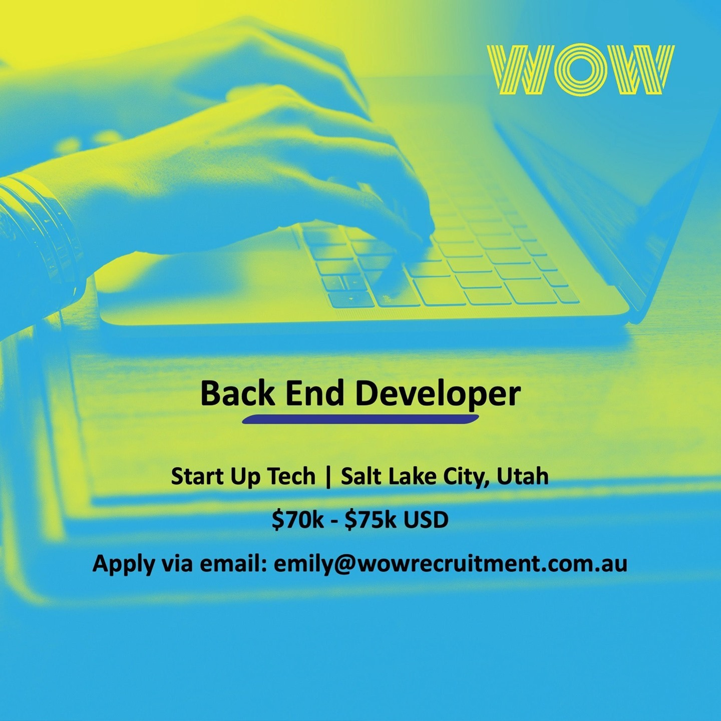 WOW is looking for a Back End Software Developer to join a rapidly growing tech start-up in Salt Lake City! Reach out to Emily McLeod via email for more info! 🖥� #DoWhatYouLove #WorkHappy