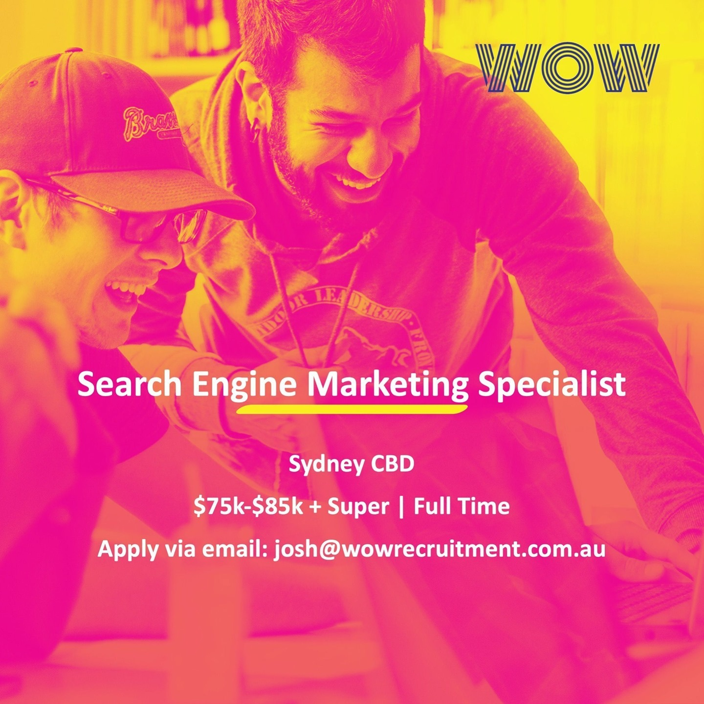 WOW have partnered with a growing Digital Agency that specialise in SEO/SEM & Paid Media based in Sydney CBD. If you're an SEM Specialist looking for your next opportunity, reach out to our marketing recruitment specialist Josh Sharpe via email today! #DoWhatYouLove