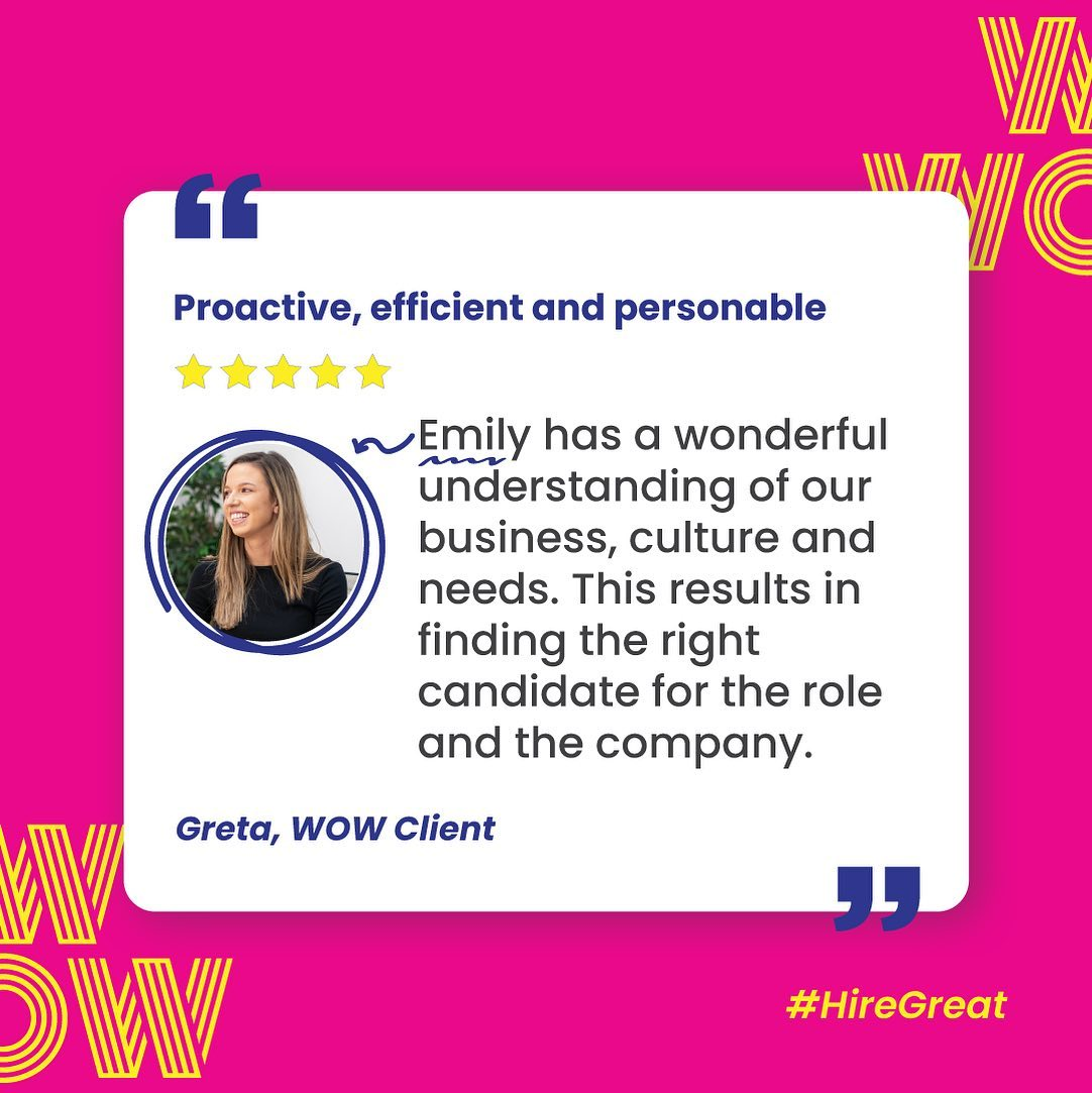 Because Emily looks for a deeper connection between business culture and hiring need, her recruitment delivers a lasting result. Simple. Find great employees, not just candidates. Give us a buzz, here https://wowrecruitment.com.au//contact-us-2 #Wecruitment #HireGreat #RecruitmentHappy