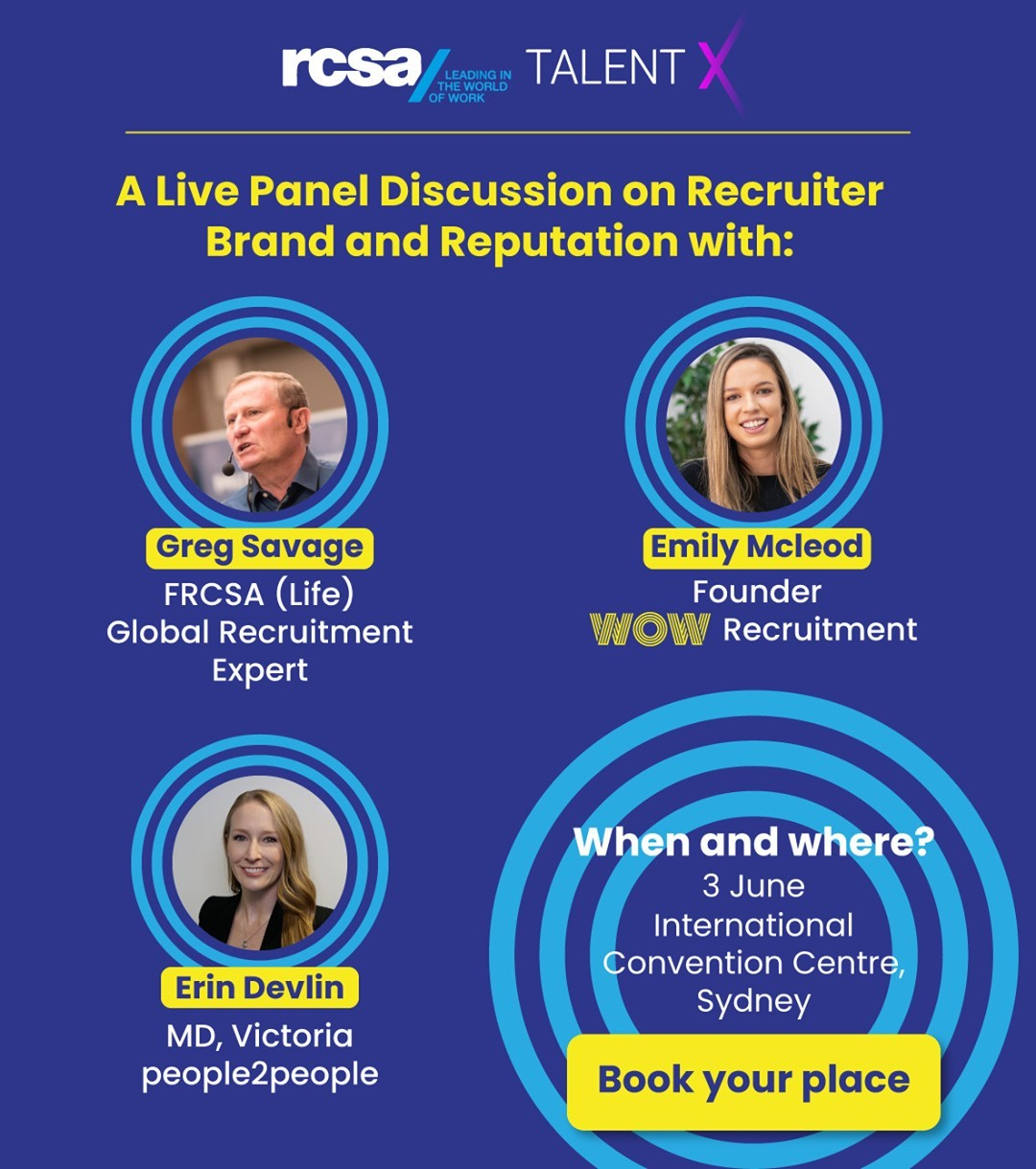 Two weeks until #TalentX!Interested in how the recruiters of the future should present themselves to the market and forge new connections? Join our founder Emily Mcleod, Greg Savage (The Savage Truth), and Erin Devlin (people2people) to find out at Talent X next month. Booked your ticket yet? Reserve a spot, here.  https://rcsa.eventsair.com/rcsa-au-2021-talentx/#RecruitmentHappy #Wecruitment #RCSA