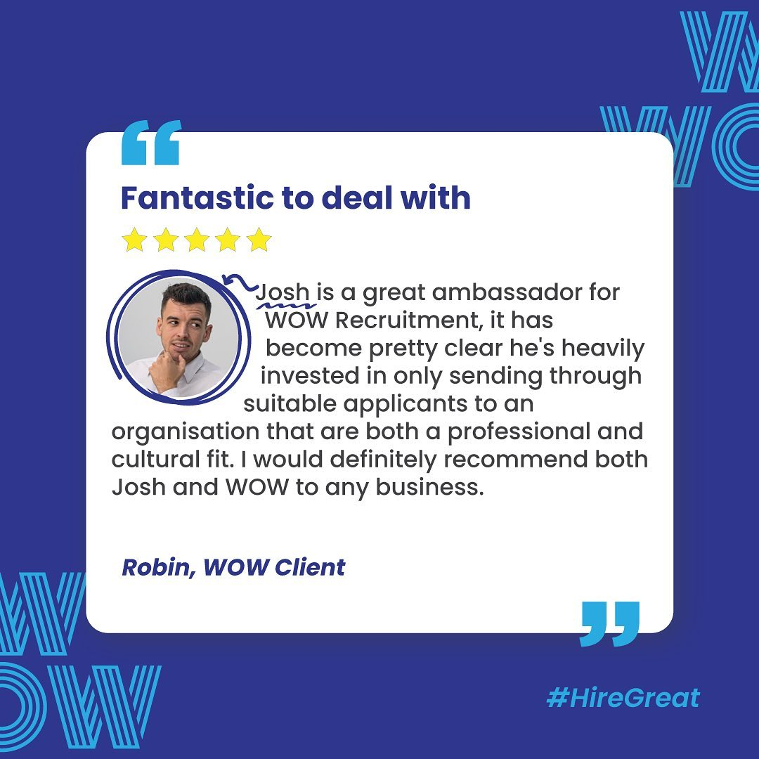Nailed it, Josh! Fantastic to deal with, a great WOW ambassador, what else is there to say?Find what your missing, here: https://wowrecruitment.com.au//contact-us-2 #HireGreat #RecruitmentHappy