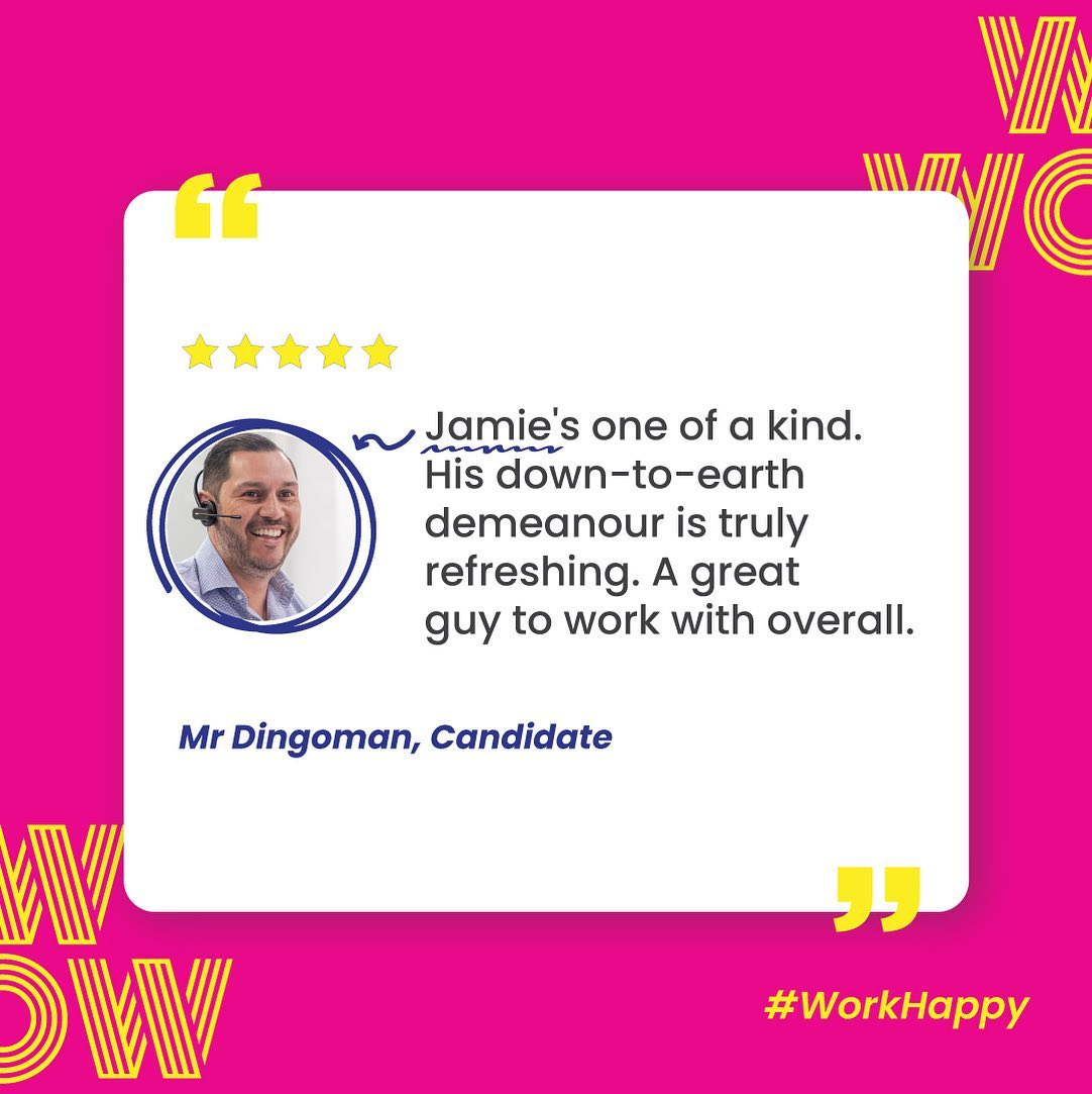 Be the kind of person candidates will love to work with. Be like Jamie! #WorkHappy #RecruitmentHappy