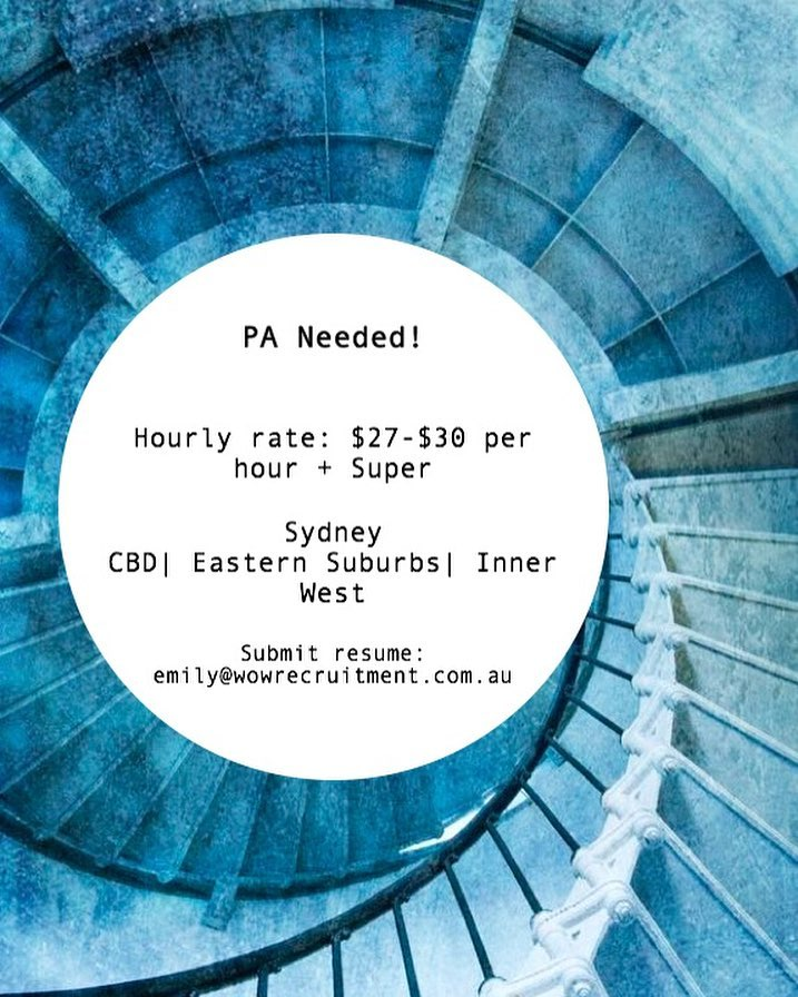We are currently seeking a part time PA to join a well established Architecture and Interior Design Firm in the inner west!• •Contact Emily for more info - emily@wowrecruitment.com.au