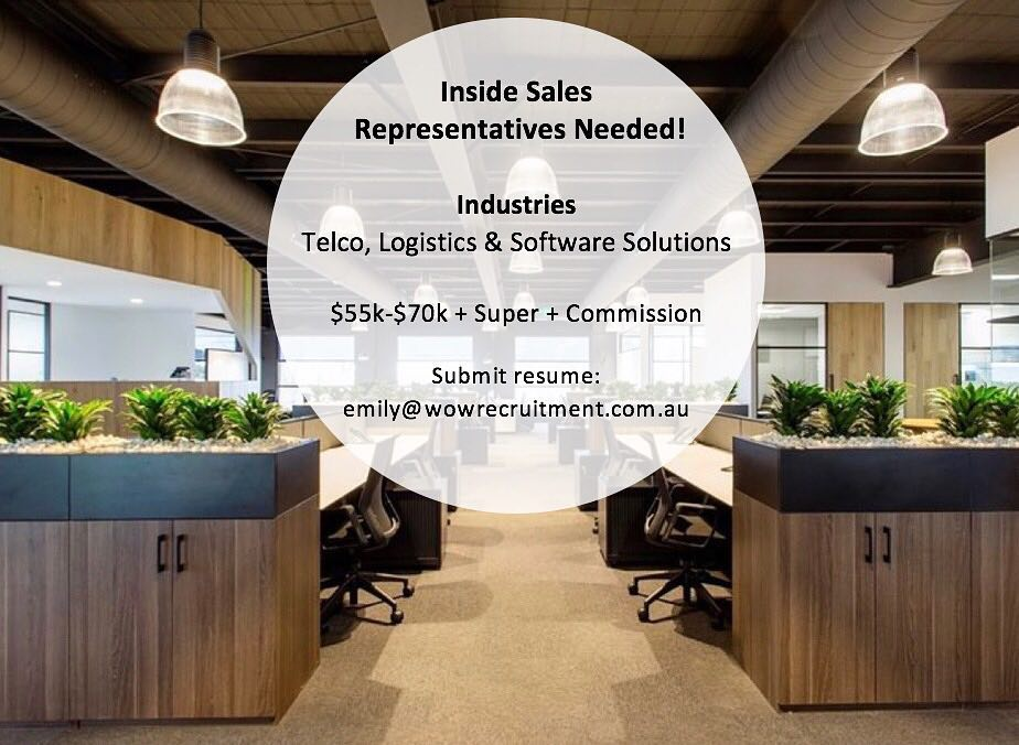 We are looking for 3 x Inside Sales Representatives across a range of different industries. Please call 02 8320 0683 to get in touch with us ️ or email your resume to emily@wowrecruitment.com.au