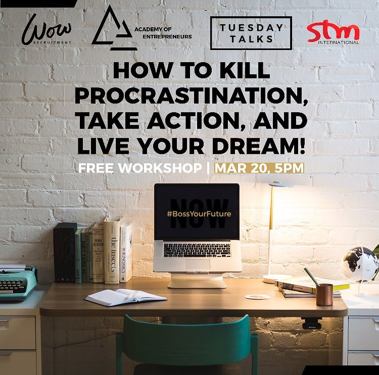 Join us at the Academy of Entrepreneurs on Tuesday 20th March from 5:00pm - 7:30pm where Daniel Tonkin will be sharing his insight on how to kill procrastination, take action and live your dream 🏼 Where? Academy of Entrepreneurs, Ground Level, 53 Murray Street, Pyrmont.