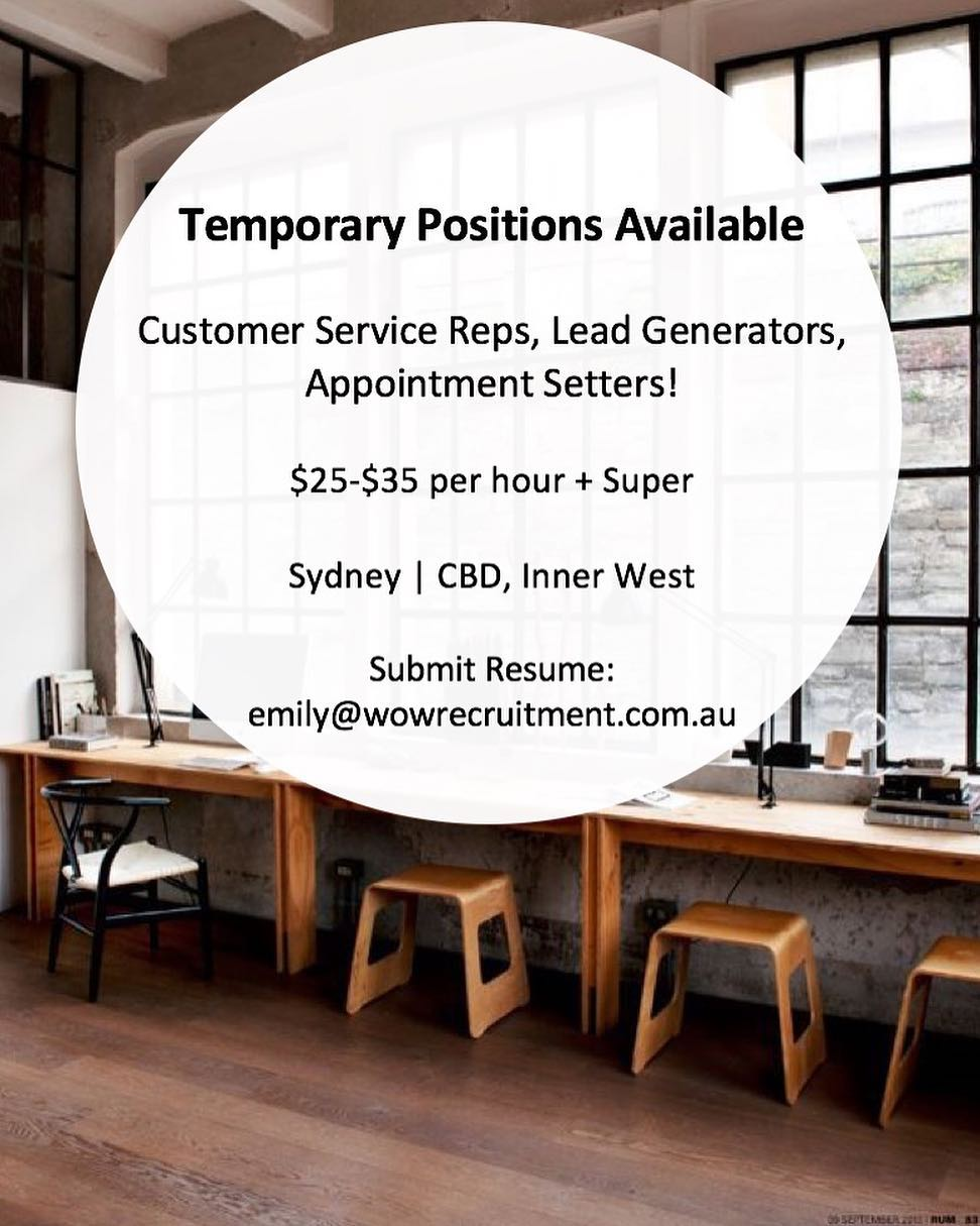 We have multiple temporary positions available, full time & part time! Are you looking for a short term role or casual work within customer service or sales? 🤔 If so, please get in contact with Emily today - emily@wowrecruitment.com.au