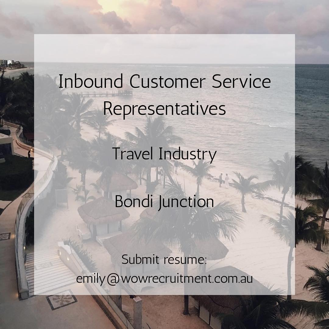 Seeking multiple Inbound Customer Service Representatives for our client in the Travel Industry! ️ Travel industry required! Get in contact with us for more info - www.wowrecruitment.com.au#wowrecruitment #travel #jobs #joblisting #travelindustry