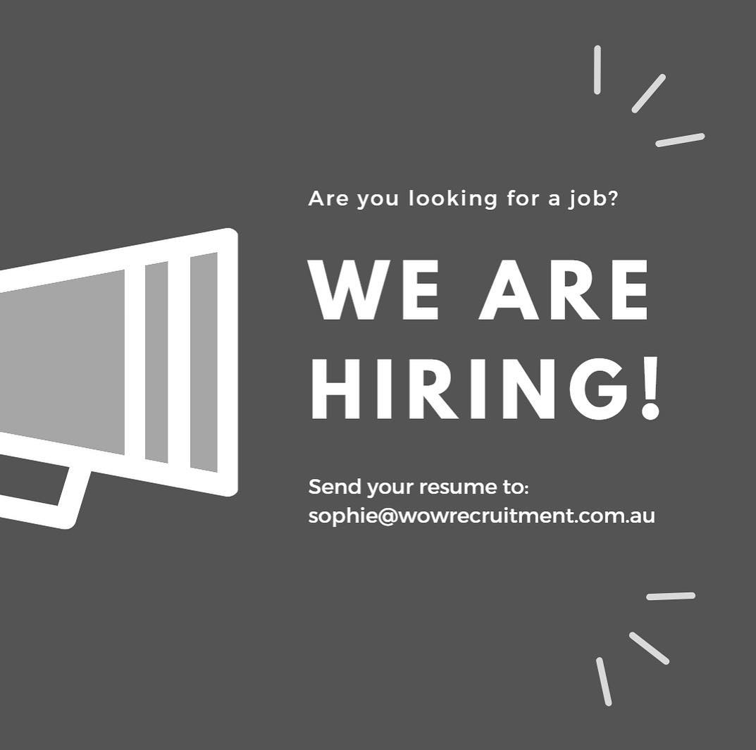 Are you looking for a new opportunity? Get in contact with Sophie, our new Recruitment Coordinator, today!! sophie@wowrecruitment.com.au