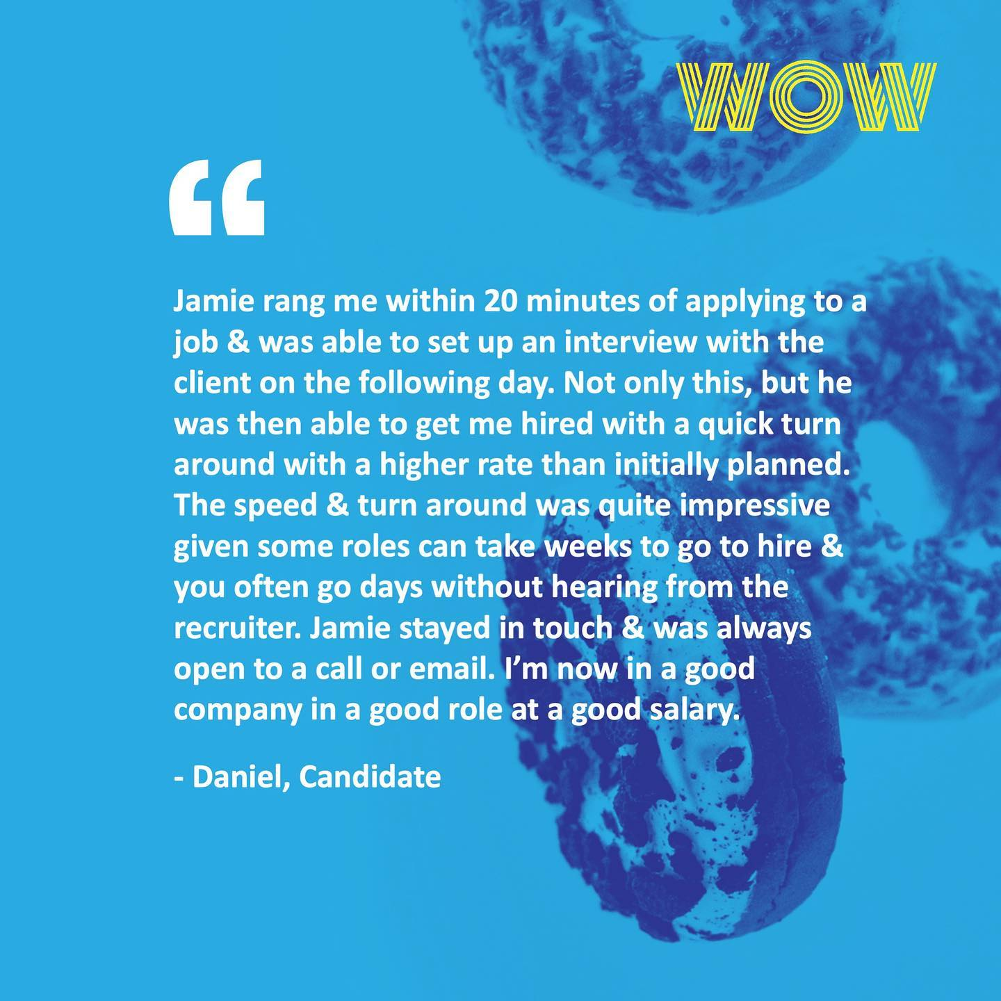 Well done Jamie! 🏼 If you're looking for a recruiter to partner with in your job search journey and back you all the way, reach out to Jamie - jamie@wowrecruitment.com.au