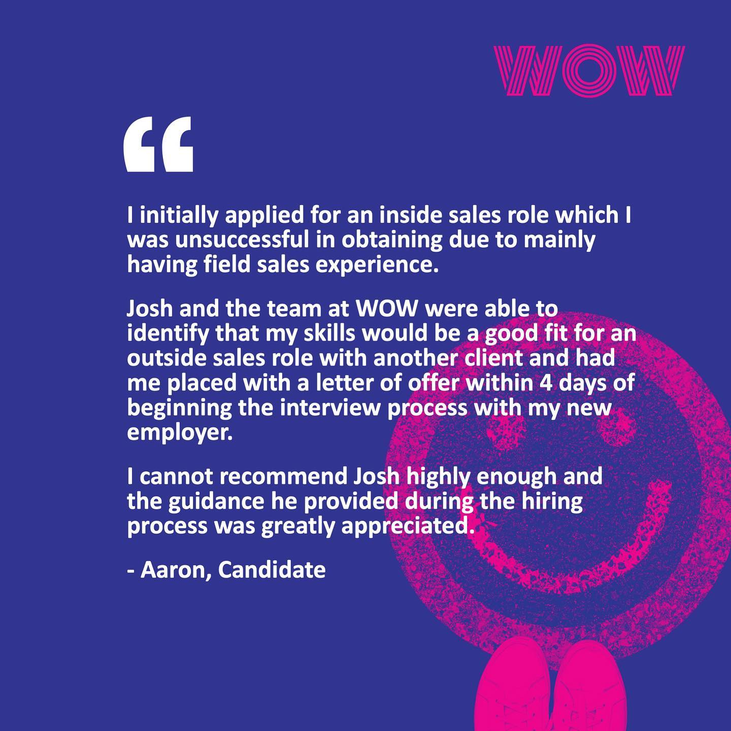 Another great candidate testimonial for Josh! Well done Josh, great review and definitely well deserved