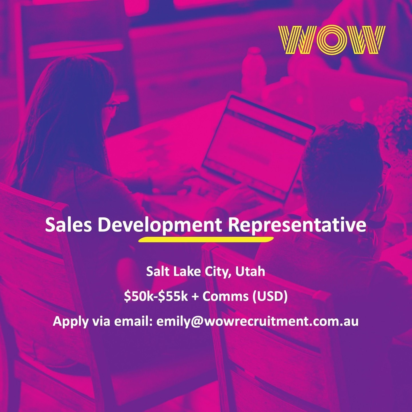 WOW Recruitment are recruiting for an ambitious & results driven Sales Development Representative to contribute to the continuous growth of a Tech/SaaS company in Salt Lake City! Reach out to Emily McLeod via email for more info! #DoWhatYouLove