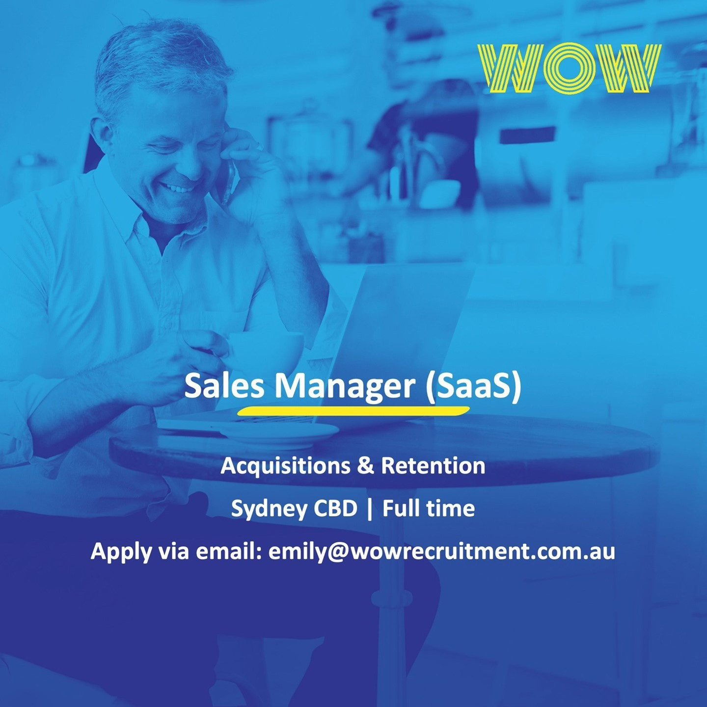 WOW Recruitment are recruiting 2 x Sales Manager roles for a SaaS / Tech Start Up in Sydney CBD, one focused on Acquisitions & the other on Retention. Please reach out to Emily McLed via email for more info!  ⠀⠀#Sales #SaaS #Tech #DoWhatYouLove #WorkHappy