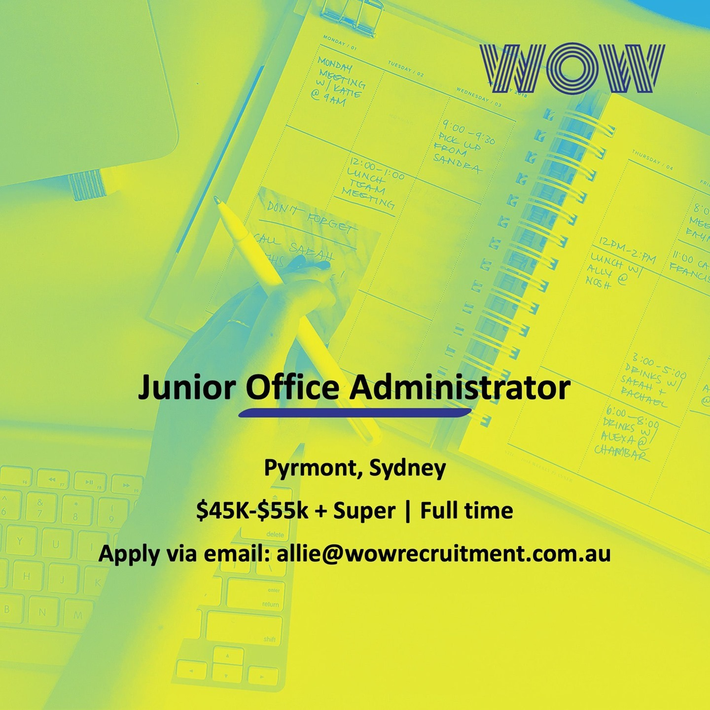 WOW is recruiting a Junior Office Admin to join one of our clients based in Pyrmont! For more info, reach out to our Business Services Recruiter Allie McPhee, allie@wowrecruitment.com.au ️ ️ ️
