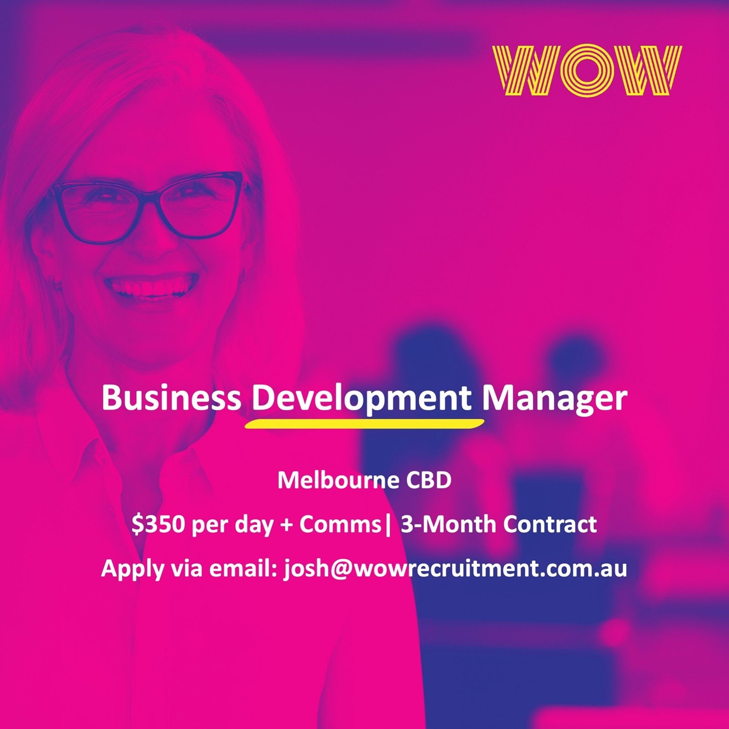 WOW Recruitment are looking for an experienced BDM to join one of our Digital Marketing clients in Melbourne CBD for a 3 month contract, with the possibility of extension. If you'd like to learn more, please reach out to our Sales and Marketing Recruitment Specialist, Josh via email at josh@wowrecruitment.com.au 👥  ⠀⠀#Sales #Recruitment #BDM #Marketing #DoWhatYouLove #WorkHappy
