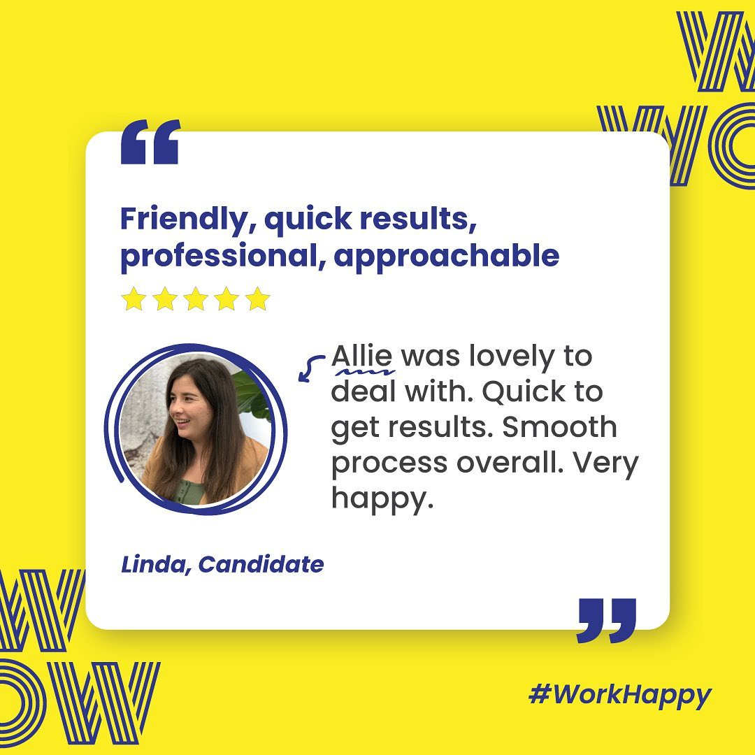 Doing us proud Allie. Keep on keepin' on. #RecruitmentHappy #WorkHappy