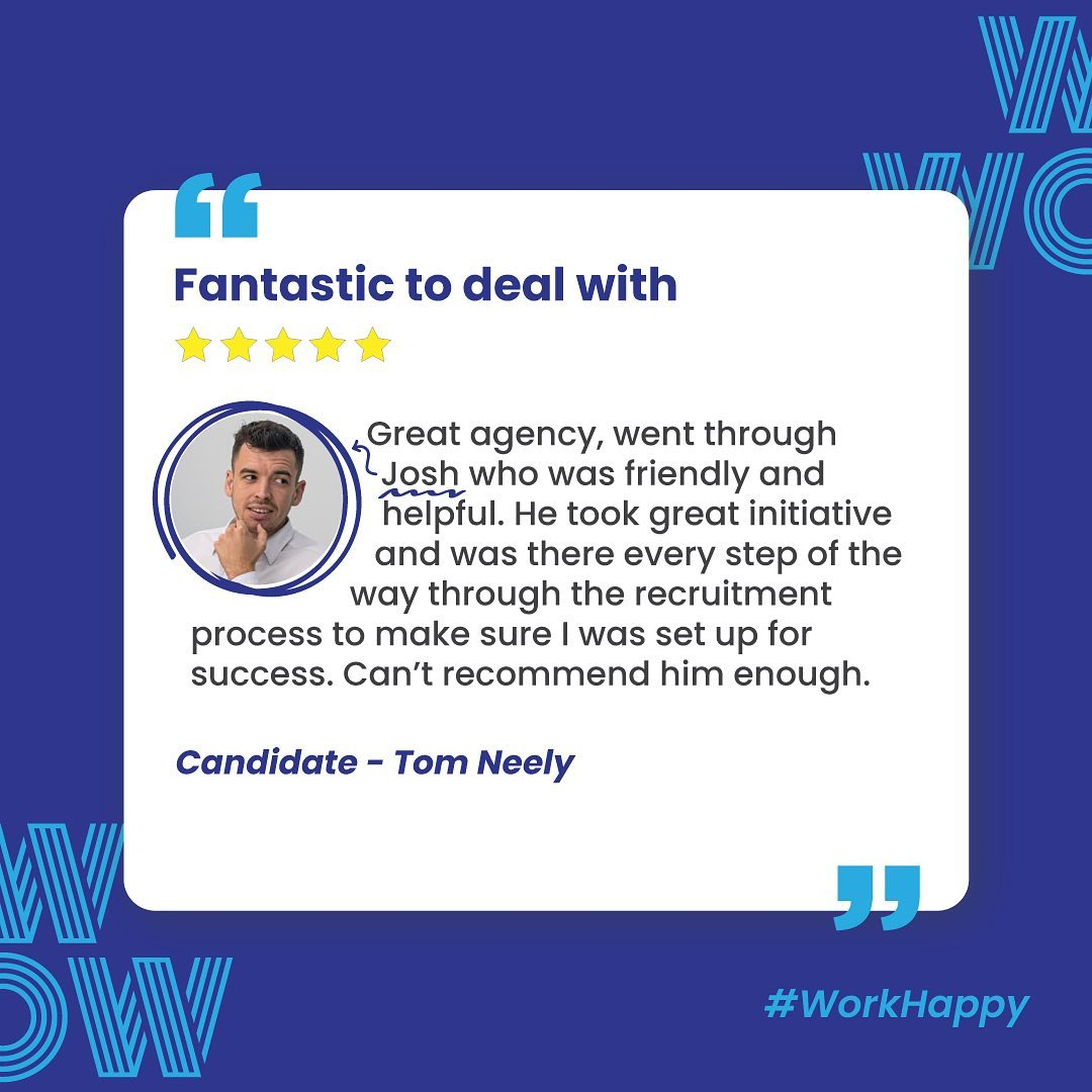 Highly supportive, highly recommended, #RecruitmentHappy in action. Good work, Josh. If it's missing, we can help you find it, contact us. Link in bio #WorkHappy