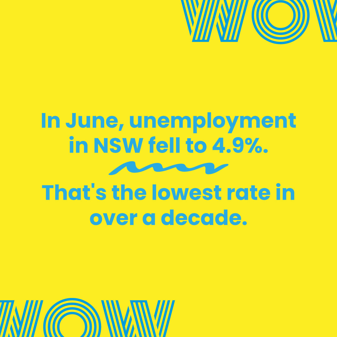 Of course, the current lockdown is a setback none of us wanted, but stats like these prove that underneath it all is a vibrant, talented, and in-demand workforce. Keep going NSW!Find that dream job and #DoWhatYouLove. Link in bio