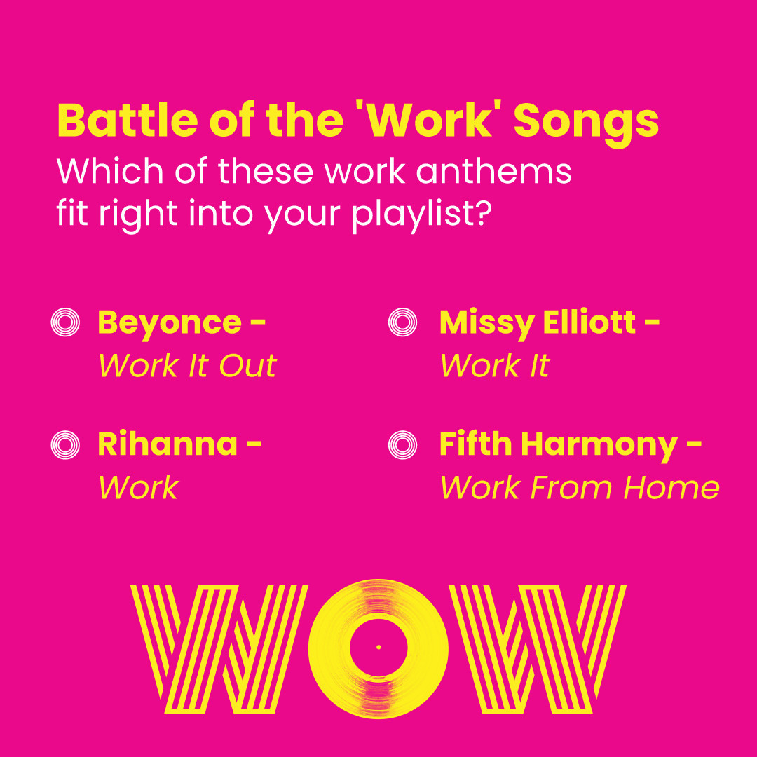 Can't go wrong with any of these hits, that's for sure! So tell us, what's your work anthem of choice? Leave a comment with your absolute fave! #DoWhatYouLove #WorkPlaylist